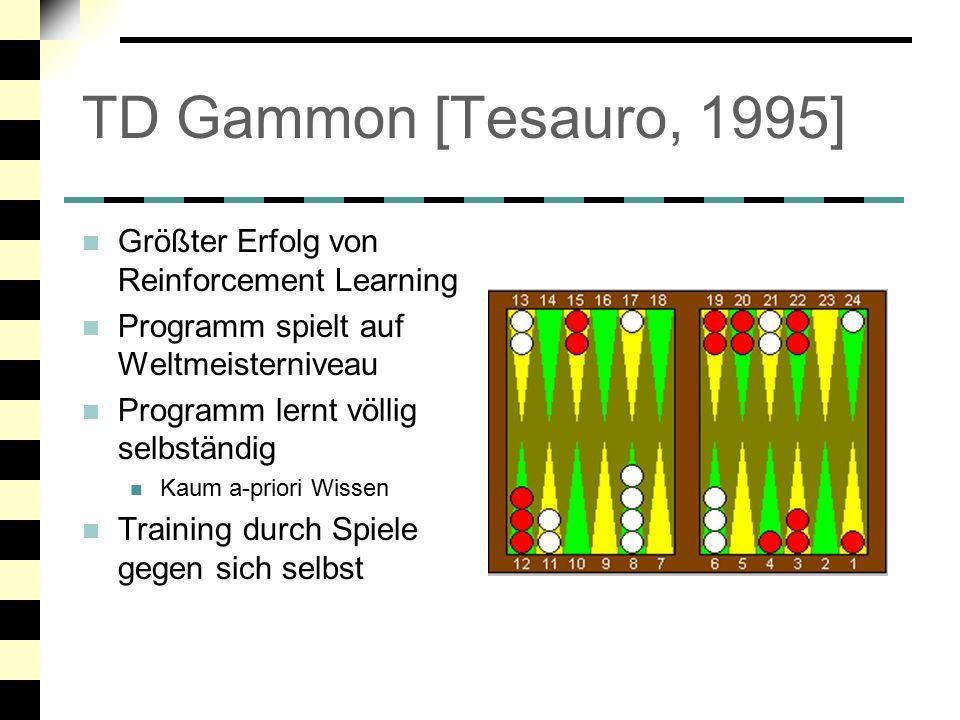TD Gammon [Tesauro, 1995] Größter Erfolg von Reinforcement Learning